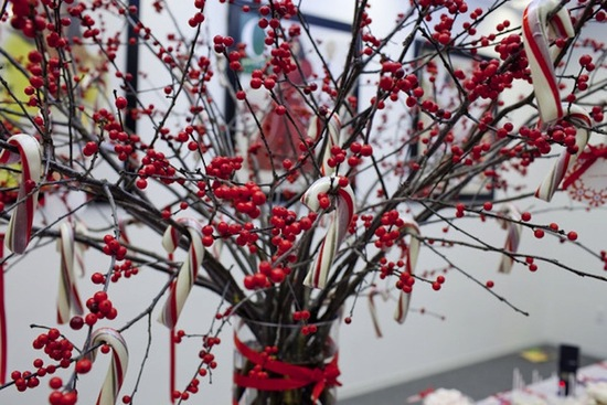 winter wedding centerpiece manzanita branches red berries candy canes