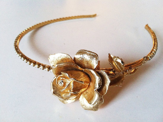 vintage bridal headband rose adorned