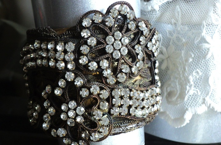 antique wedding accessories for vintage brides bronze crystal bracelet