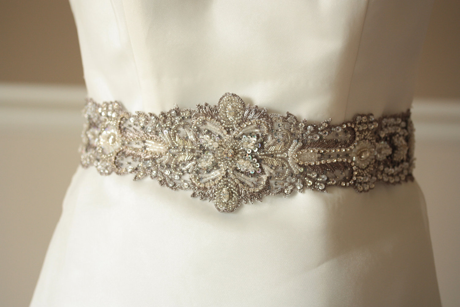 Antique wedding finds from etsy vintage bridal sash for Wedding dress belt sash