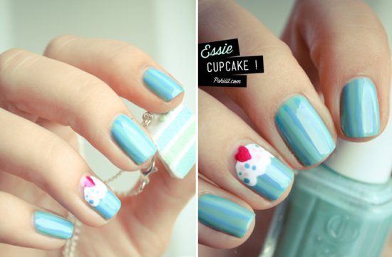 funky wedding nail art for modern stylish brides pastel teal cupcake nail