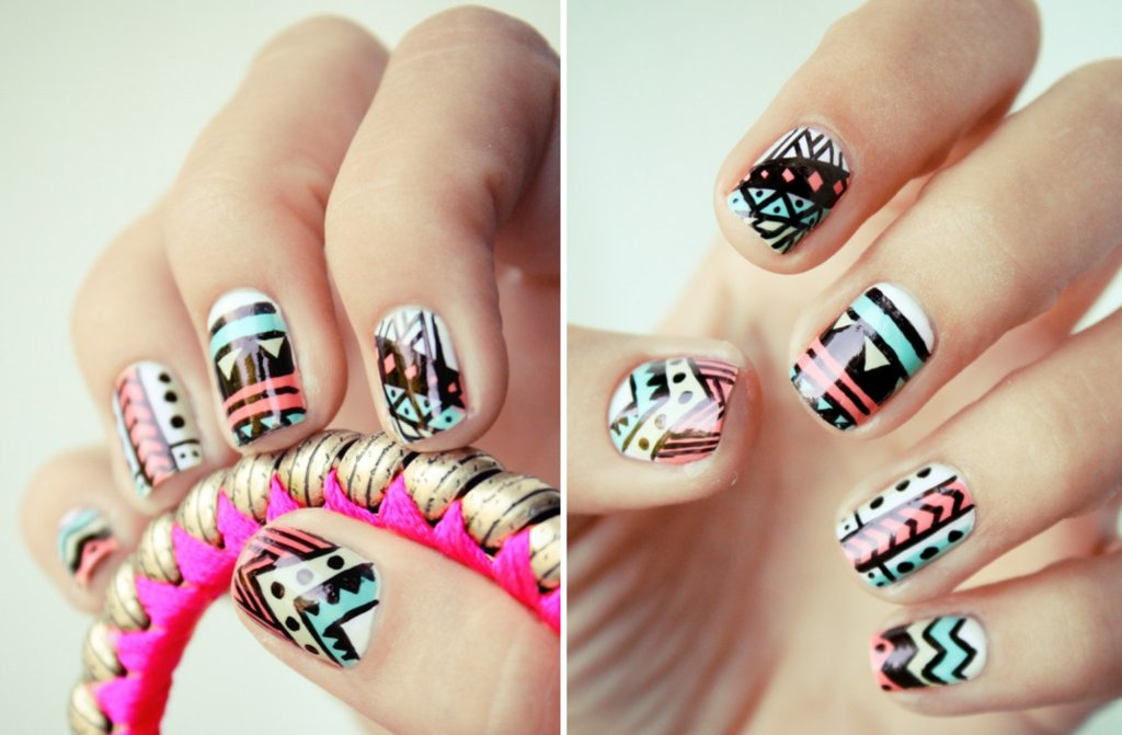 Funky-wedding-nail-art-for-modern-stylish-brides-pastel-with-black-pattern.full