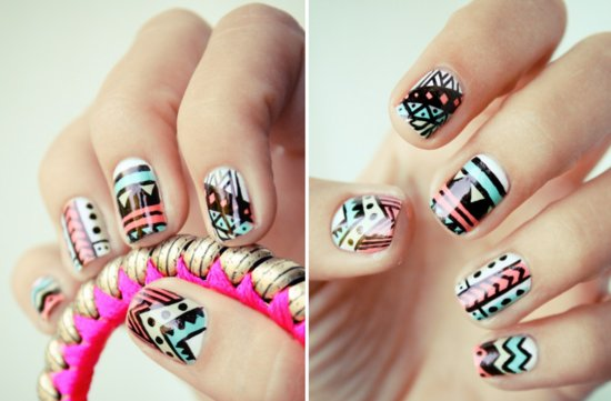 Funky-wedding-nail-art-for-modern-stylish-brides-pastel-with-black-pattern.medium_large