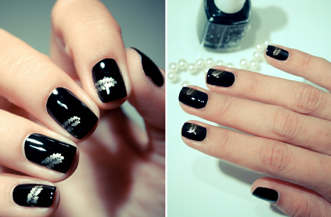 Funky wedding nail art for modern stylish brides black silver onewed