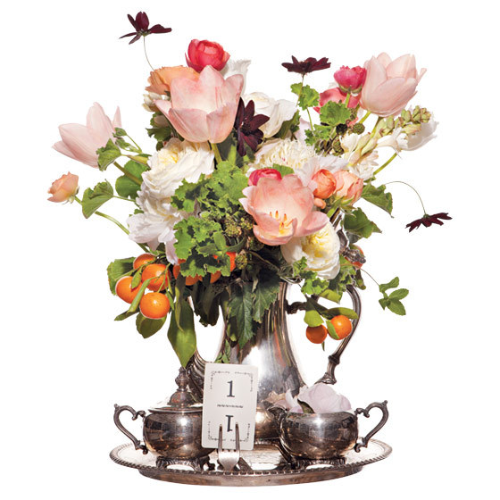 Unique-wedding-centerpiece-ranunculus-peonies-cosmos-tulips-mint-geraniums-garden-roses-tuberose-citrus-berries-freshwater-pearls-feathers.full