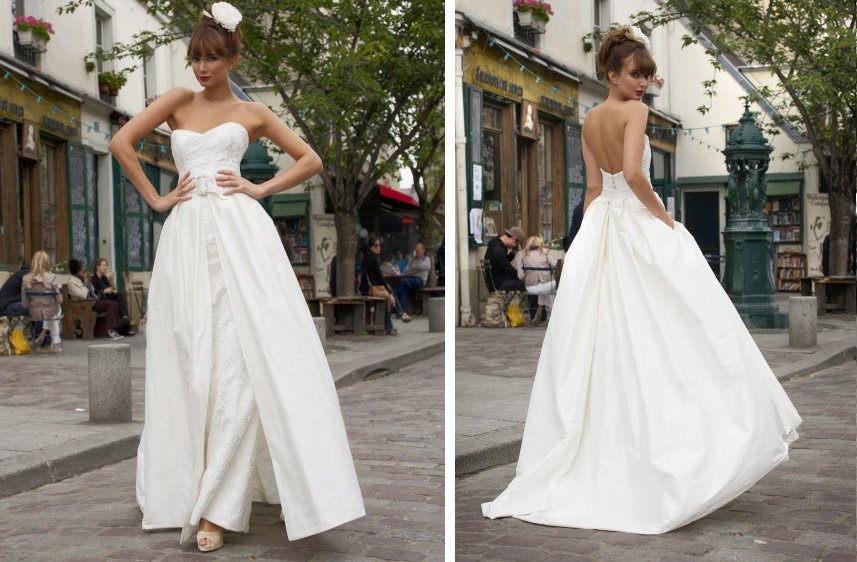 Vintage-Inspired Wedding Dress with Lace Trains
