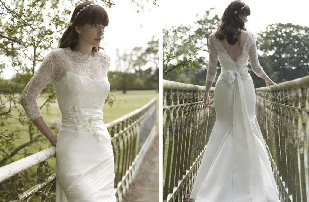 Vintage Inspired Stephanie Allin Lace Illusion Traditional Bridal Gowns