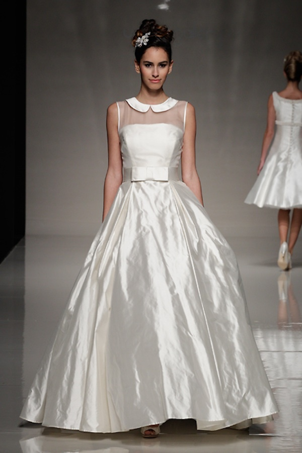 sophisticated wedding dress sheer illusion neckline
