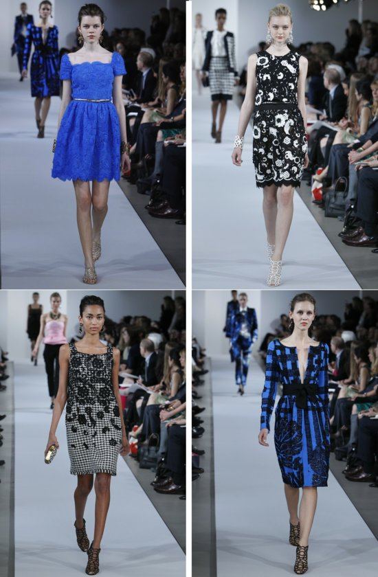 bridesmaid dress inspiration Oscar de la Renta bright blue black white patterned dresses