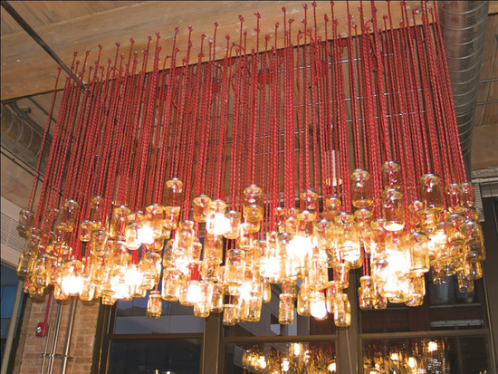 dramatic mason jar chandelier for wedding reception venue