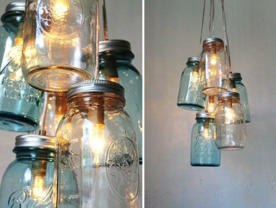 Romantic vintage weddings chandeliers with mason jars