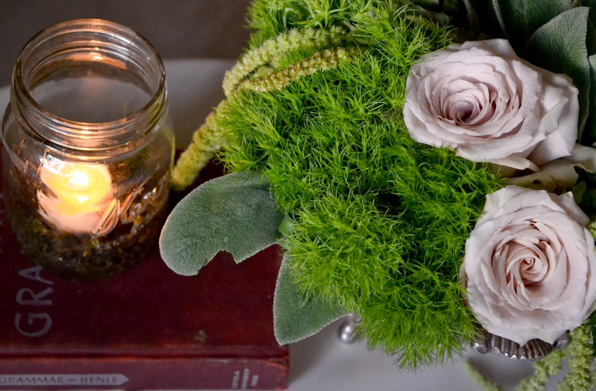 Vintage wedding centerpiece mason jars roses onewed