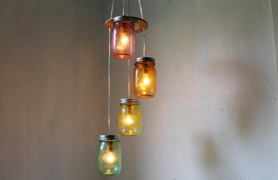 Rainbow Mason Jar Wedding Chandelierdium
