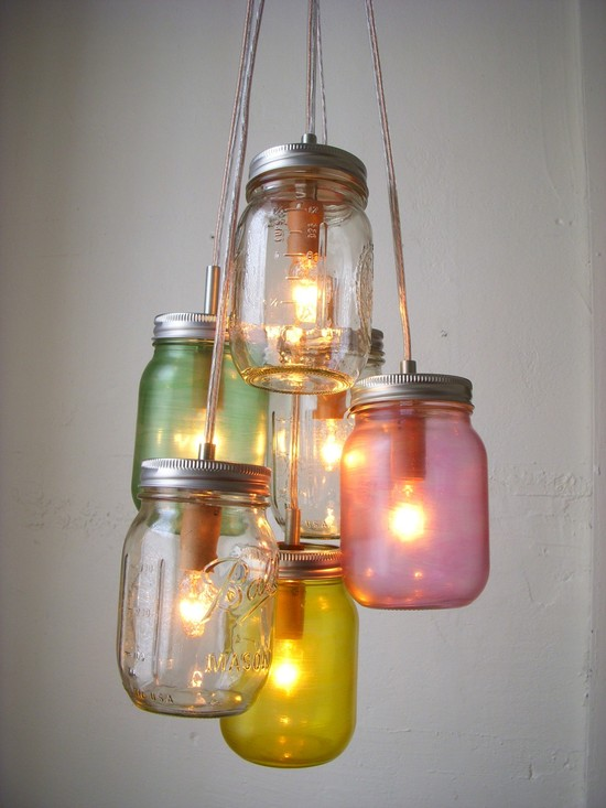 Vintage wedding idea for mason jar chandelier