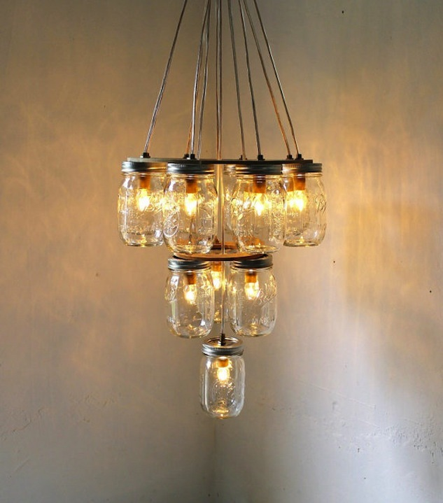 photo of mason jar chandelier wedding DIY for vintage brides 2