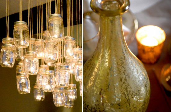 mason jar chandelier wedding DIY project for vintage brides