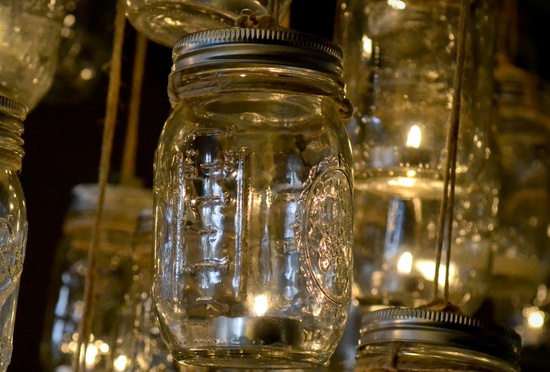 vintage wedding DIY project mason jar chandelier