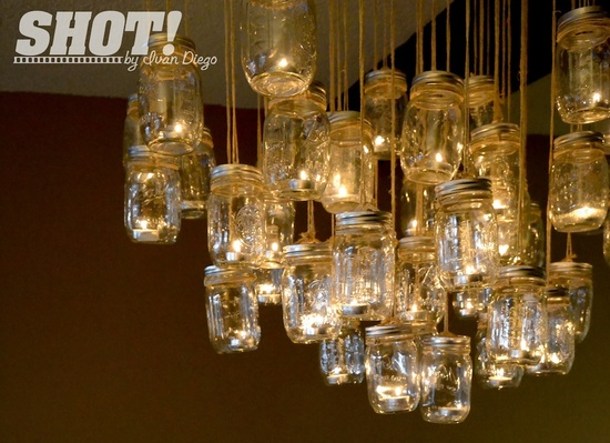 photo of vintage wedding shoot with mason jar chandelier rustic elegance 2