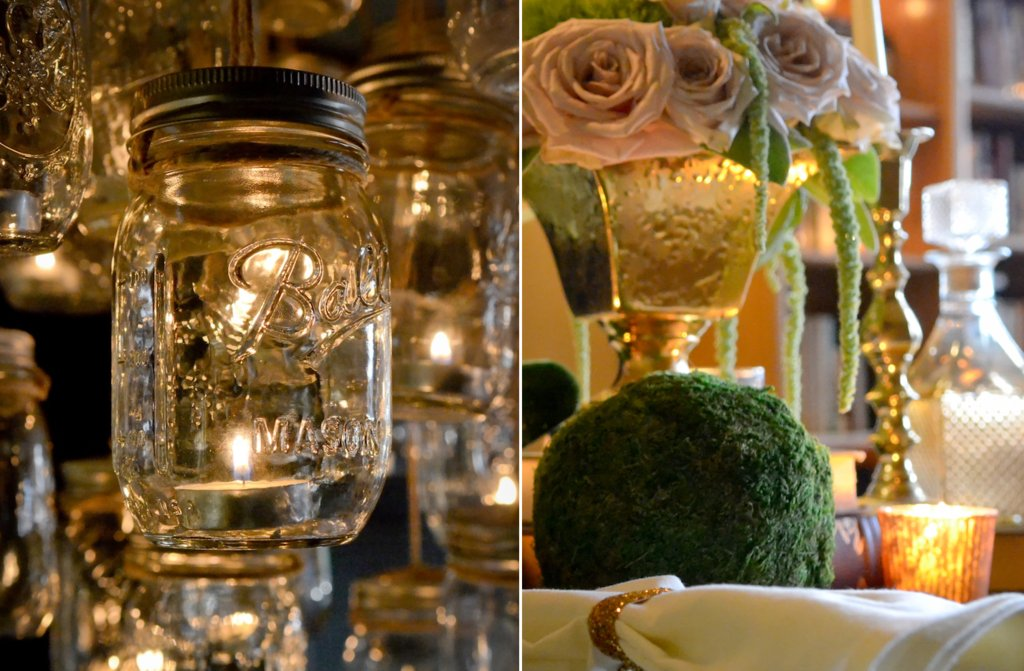 Elegant-vintage-wedding-inspiration-candlelit-wedding-venue-mason-jar-chandelier-3.full