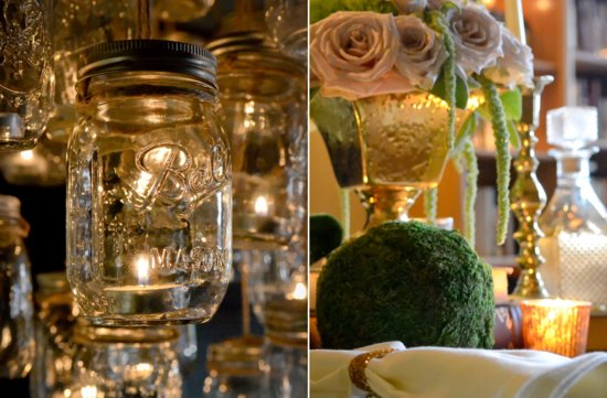 elegant vintage wedding inspiration candlelit wedding venue mason jar chandelier 3
