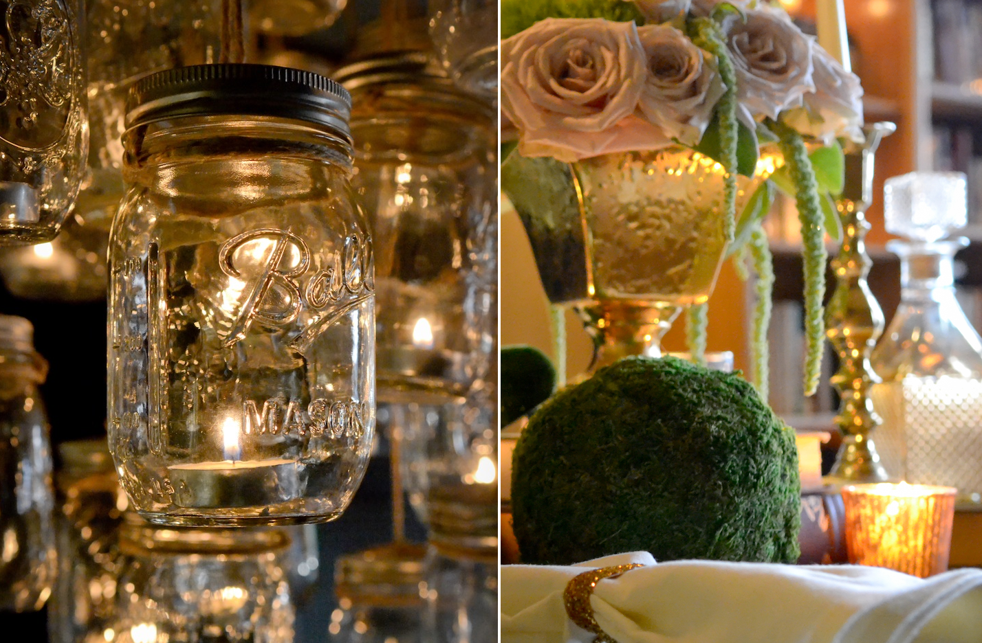 Elegant-vintage-wedding-inspiration-candlelit-wedding-venue-mason-jar-chandelier-3.original