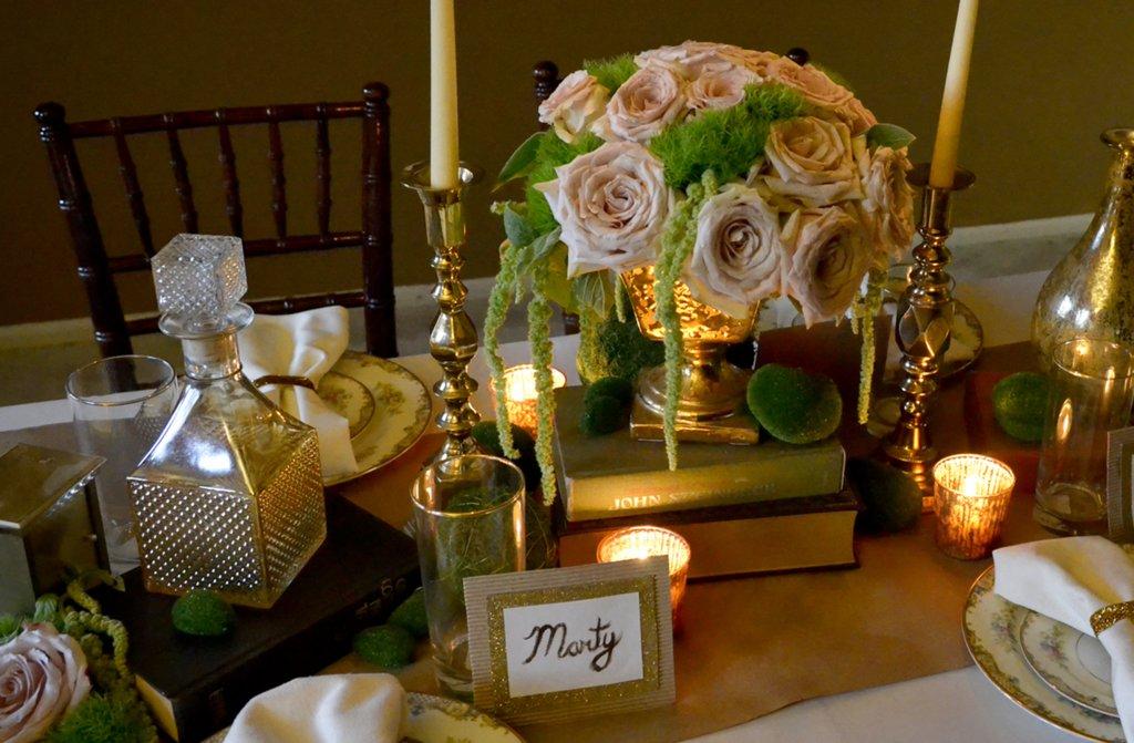 Elegant Vintage Wedding Inspiration Candlelit Wedding Venue Mason