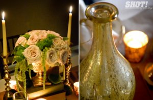 photo of elegant vintage wedding inspiration candlelit wedding venue mason jar chandelier 5