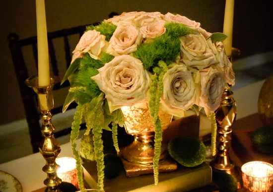 vintage wedding inspiration romantic reception centerpiece garden roses