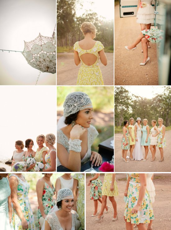 country chic outdoor wedding bride in lace wedding dress floral printed bridesmaid dresses