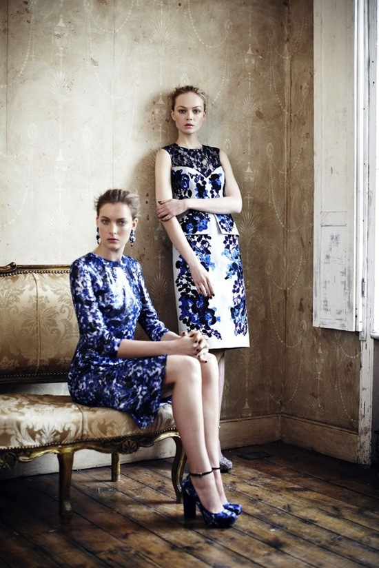 floral prints for bridesmaids Erdem Resort 2013 bridesmaid dress inspiration lace navy