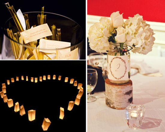 classic real wedding outdoor wedding photos rustic reception centerpieces