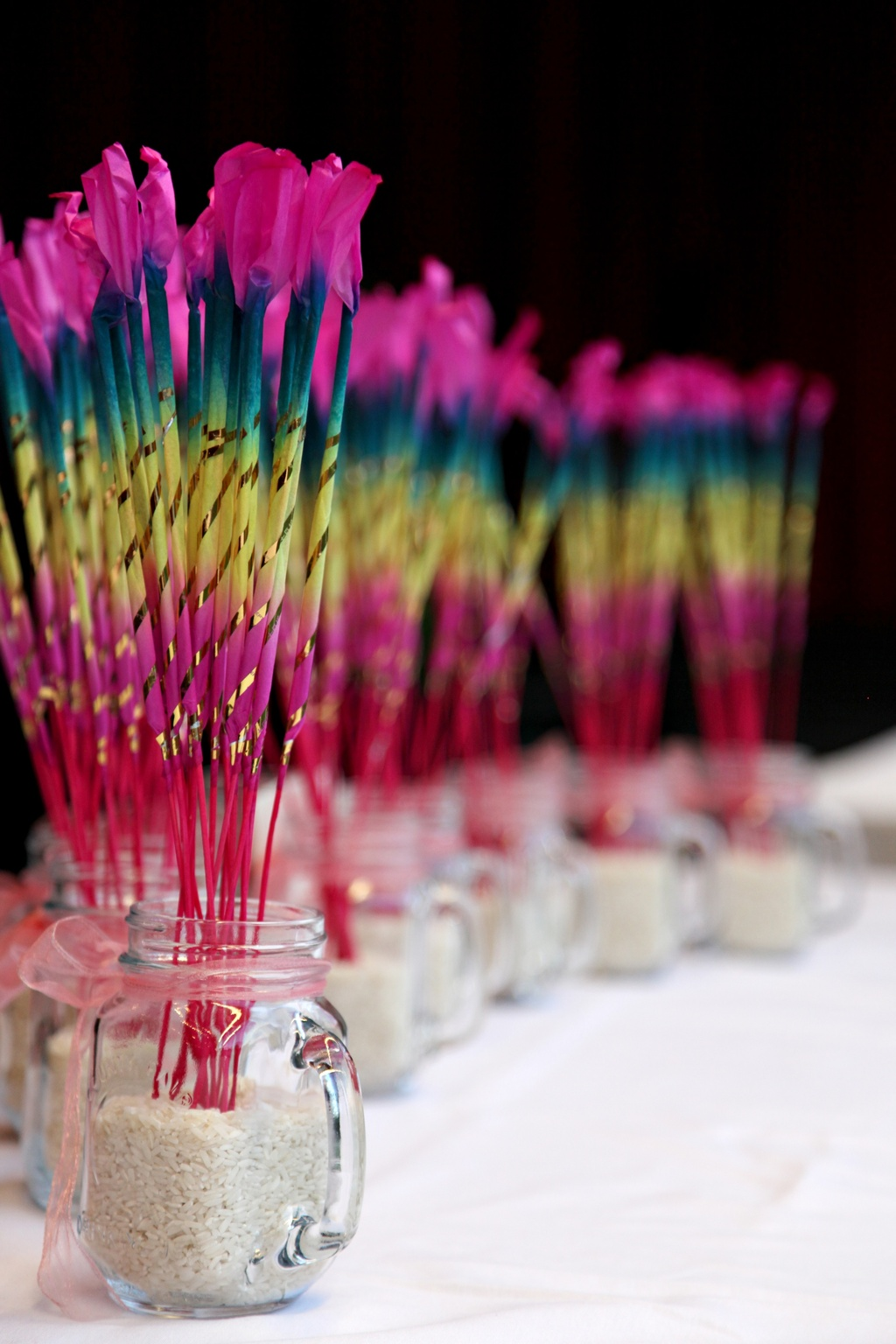 colorful wedding sparklers reception fun