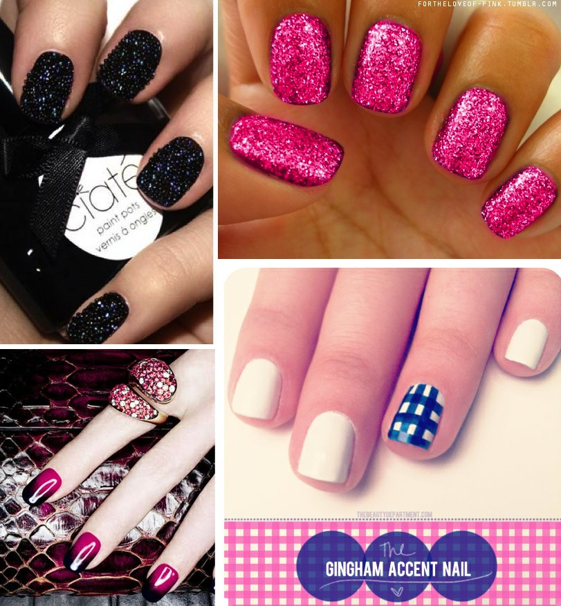 Nail-art-for-brides-sparkle-pink-black-modern-wedding-style.full