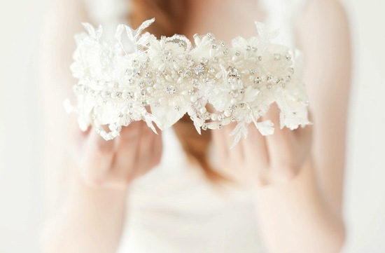 romantic bridal headband tulle crystals pearls