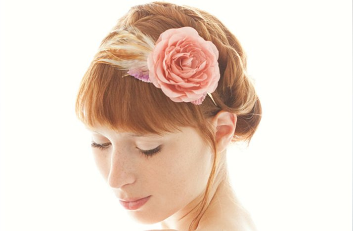romantic wedding hair accessories SIBO designs pink bridal hair flower feathers