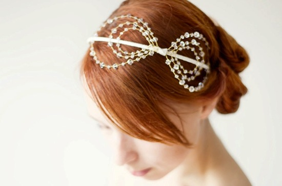 delicate wedding headband crystals gold bow
