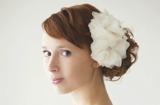 multi bloom feather flower wedding hair piece