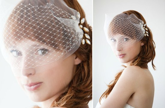 romantic wedding hair accessories SIBO designs birdcage veil