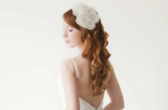 multi bloom ivory wedding headband long flowing wedding hair