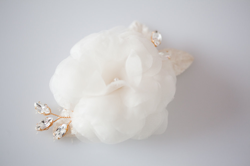 ivory wedding hair flower romantic bridal style gold crystal touches