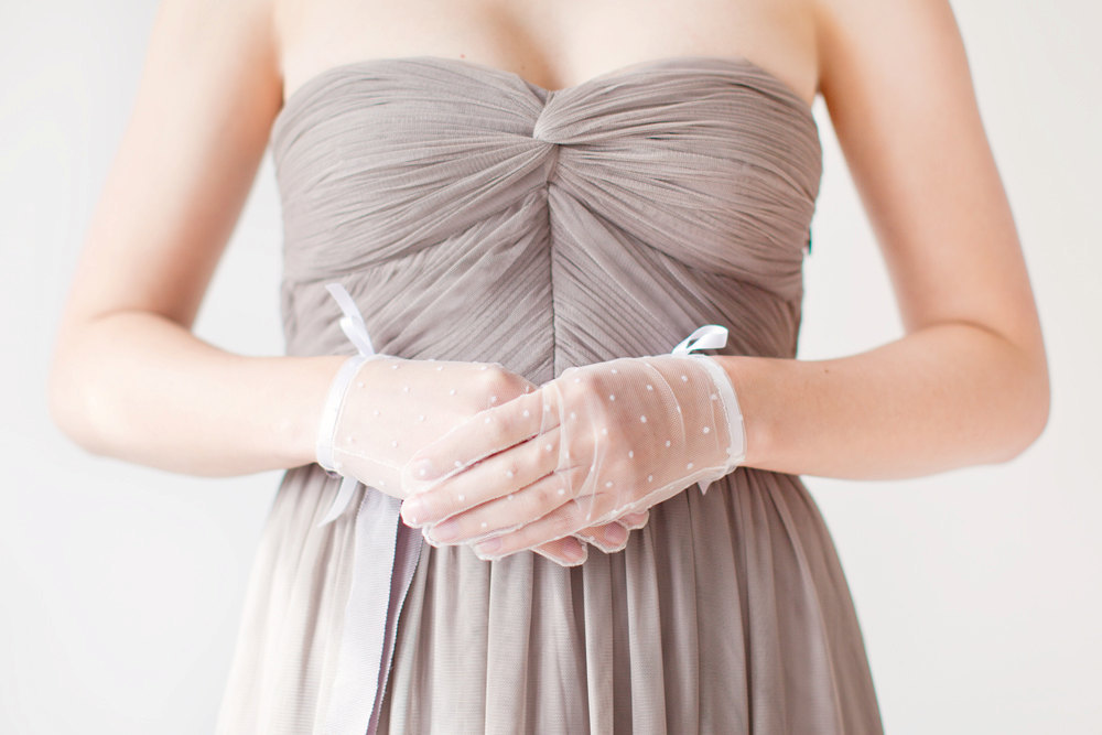 sheer polka dot bridal gloves