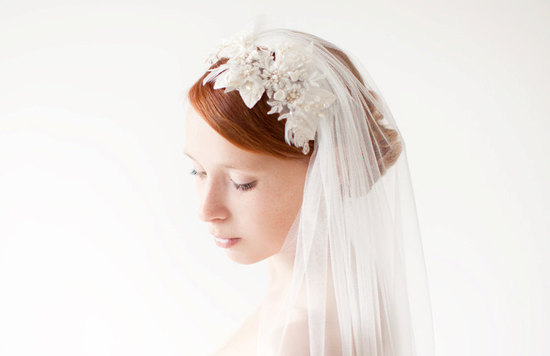 romantic bridal veil SIBO designs wedding hair accessories veils