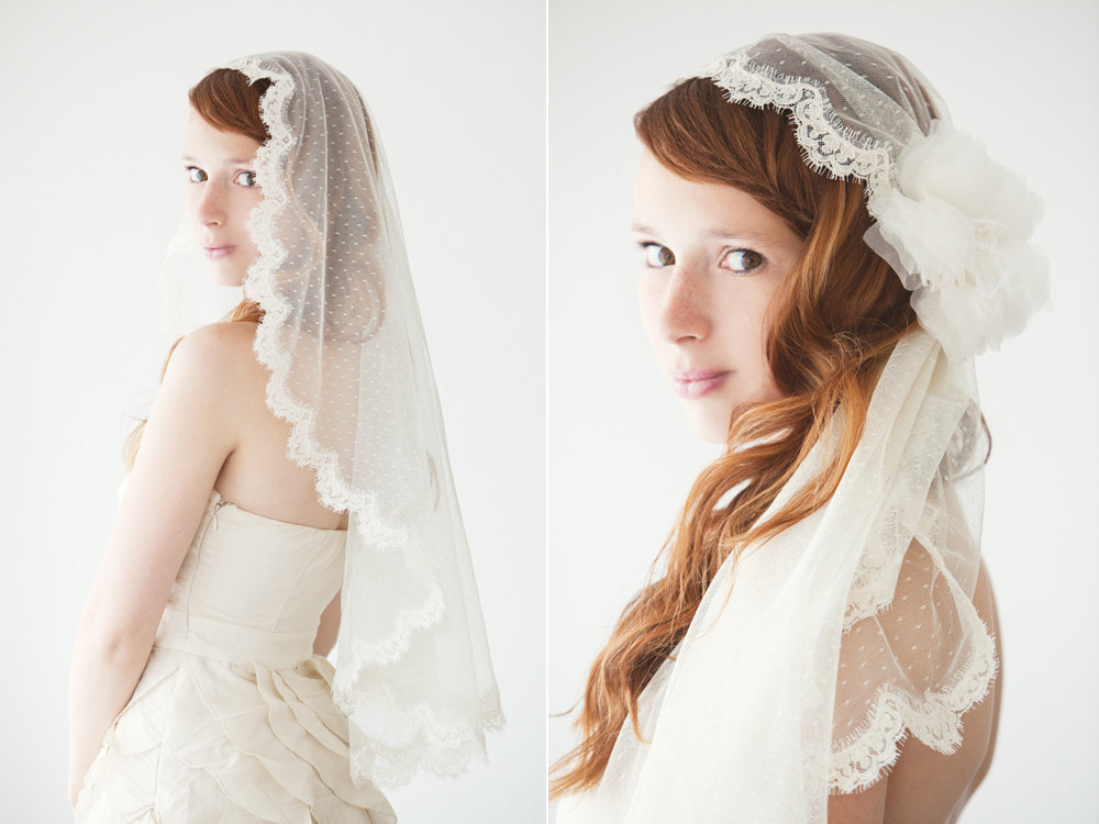 wedding accessories spotlight Etsy bridal headpieces polka dot lace veil