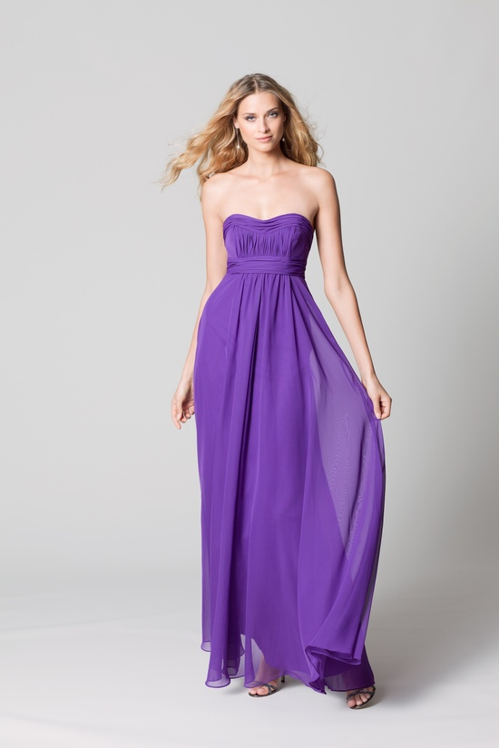 affordable bridesmaids dresses Fall 2012 WTOO by Watters bridal party bright purple chiffon