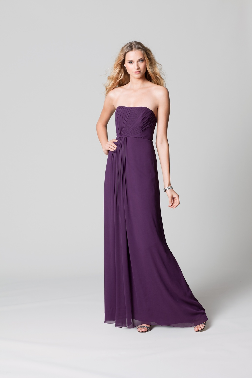 affordable bridesmaids dresses Fall 2012 WTOO by Watters bridal party eggplant purple full length