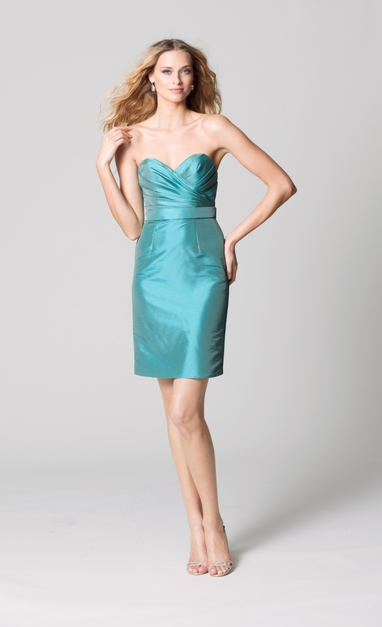 affordable bridesmaids dresses Fall 2012 WTOO by Watters bridal party aqua taffeta sweetheart