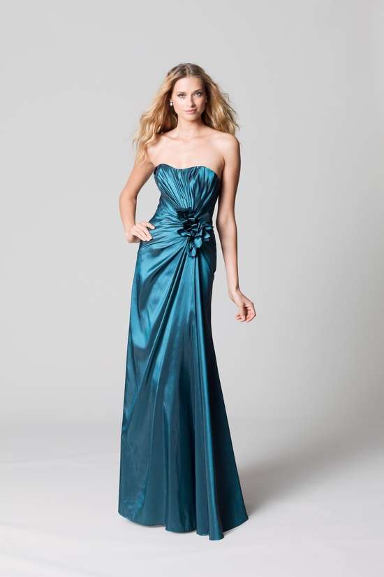 affordable bridesmaids dresses Fall 2012 WTOO by Watters bridal party teal satin long