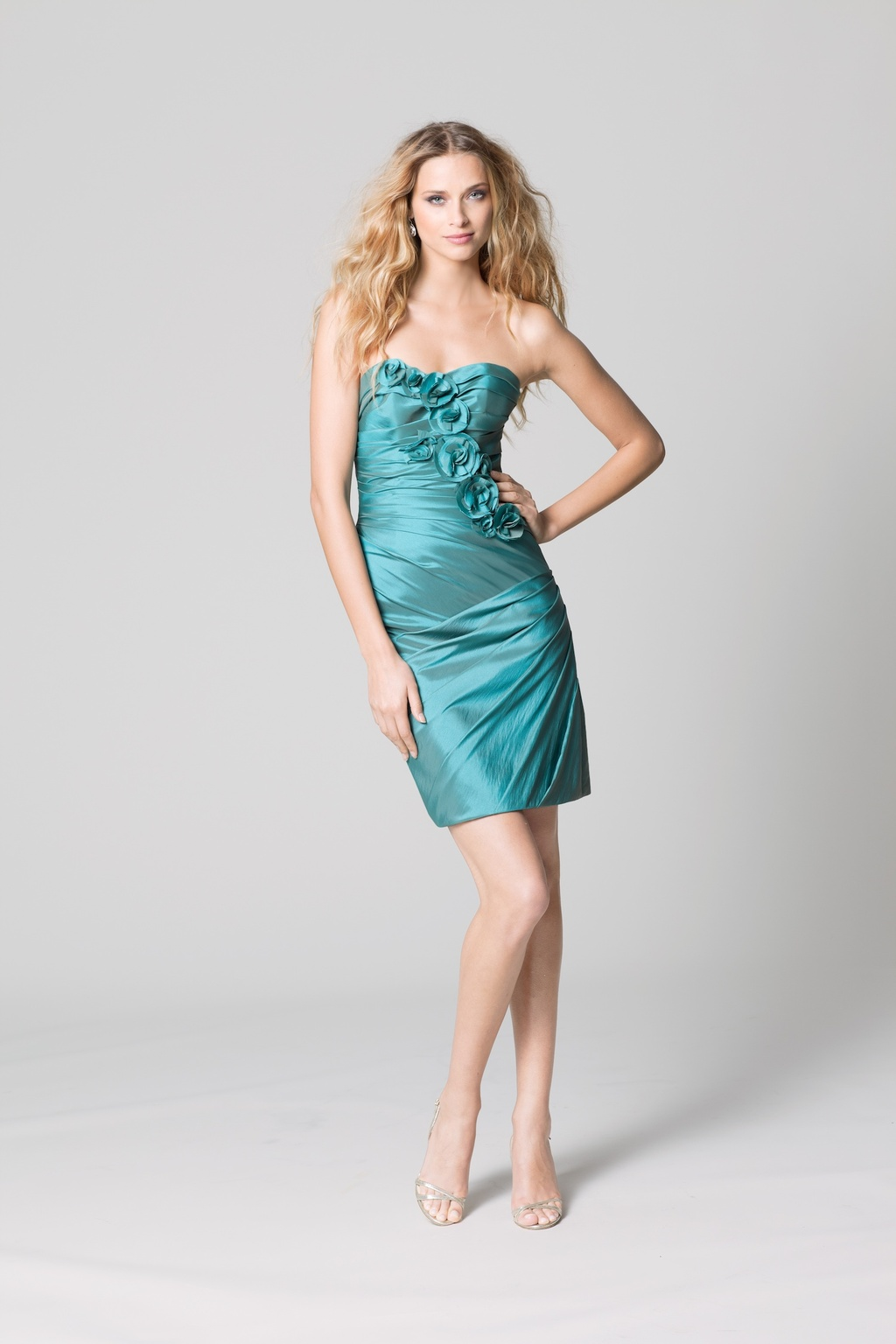 affordable bridesmaids dresses Fall 2012 WTOO by Watters bridal party aqua shimmer strapless