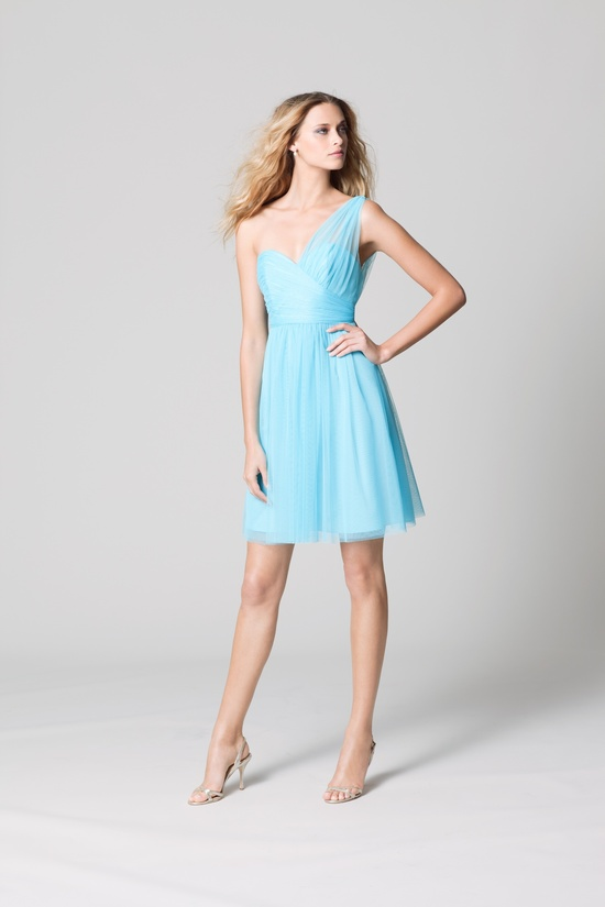 affordable bridesmaids dresses Fall 2012 WTOO by Watters bridal party light aqua illusion touches