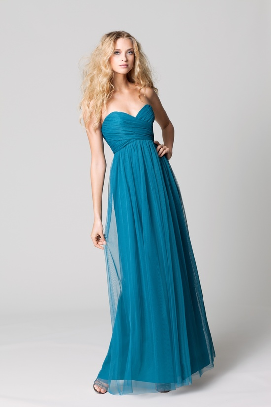 affordable bridesmaids dresses Fall 2012 WTOO by Watters bridal party teal long